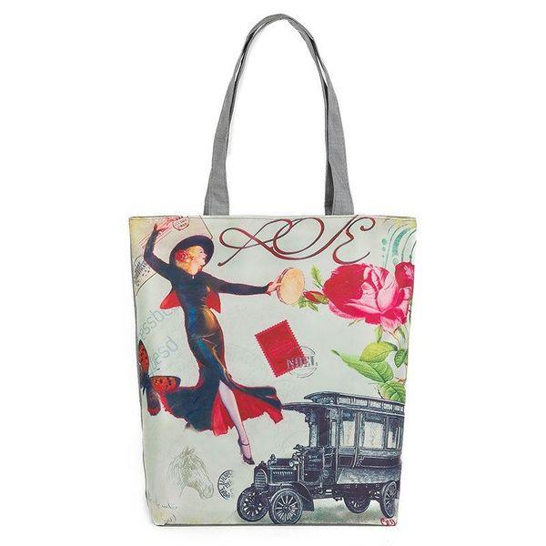 2017 الإناث قماش حقيبة الكتف النمط الأوروبي برج مطبوعة قماش حمل المرأة عارضة حقيبة الشاطئ واحدة الكتف حقيبة تسوق