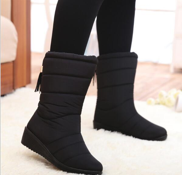 Winter Women Boots Mid-Calf Down Boots Female Waterproof Ladies Snow Boots Girls Winter Shoes Woman Plush Insole Botas Mujer G835