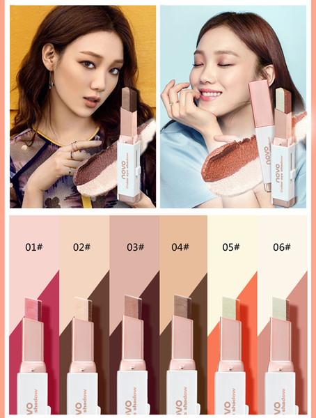 Novo Marke Lidschatten-Stick Frauen Schimmer Farbverlauf Double Color Eyeshadow Stick Erde Farbe Creme Pen Kosmetik Lidschatten DHL 5099