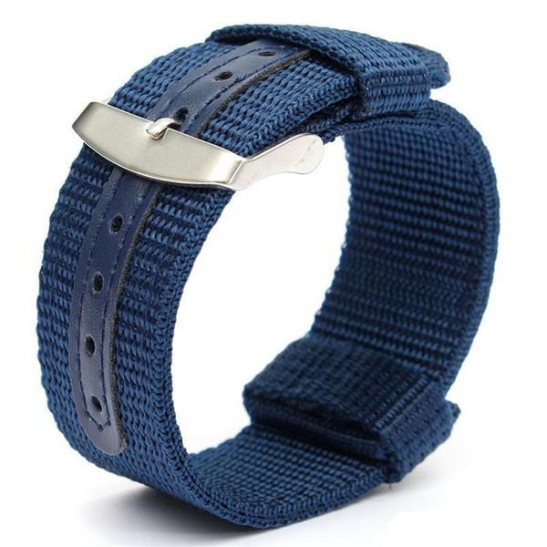 Оптовые продажи 18 мм 20 мм 22 мм 24 мм D нейлон темно-синий НАТО холст военные часы ремешок группа ремешок для часов