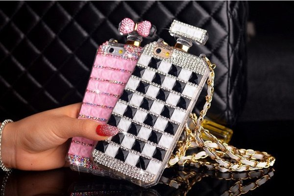 For Huawei p8 p9 p10 lite plus Luxury Cute Diamond Rhinestones Perfume Bottle Mirror chain phone case cover