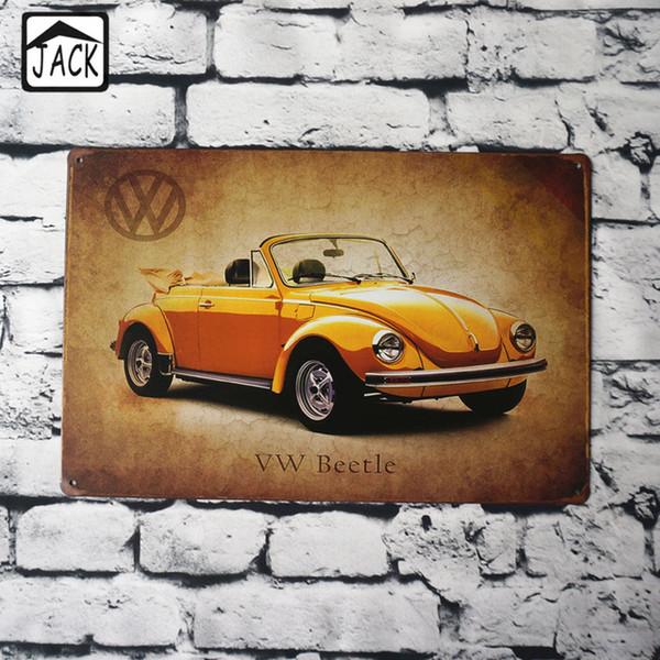 Carro Esporte Amarelo 20x30 cm Lata Cartaz Sinais De Metal Placa De Lata de Lata Pinturas Publicidade Loja Bar Garagem Decoração Da Parede