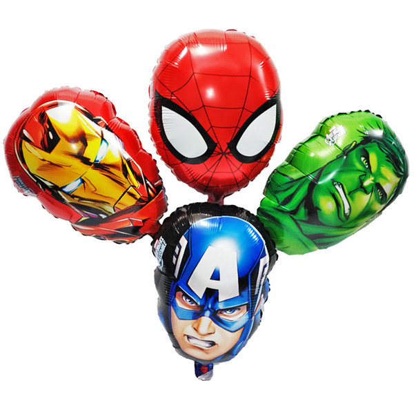 10pcs/lot 30*45cm The Avengers foil balloons super hero baby toys hulk Captain America superman batman Iron man spider-man helium balloon