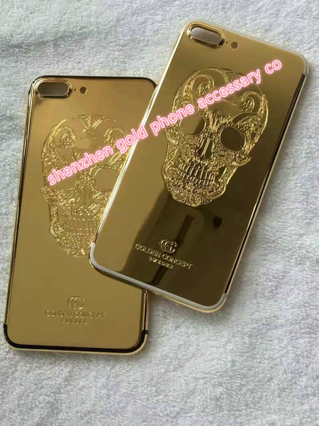 Real Gold Diamond Plating Back Housing Cover Skin Battery Door For iPhone 7 7+ High Quality 24K Real Gold skull Back Housing For iPhone 7