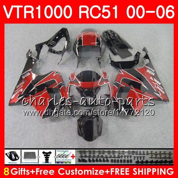 Corpo para HONDA VTR1000 RC51 SP1 SP2 00 01 TOPO vermelho preto 02 03 04 05 06 92NO13 RTV1000 VTR 1000 00 2000 2001 2002 2003 2004 2005 2006 Carenagem