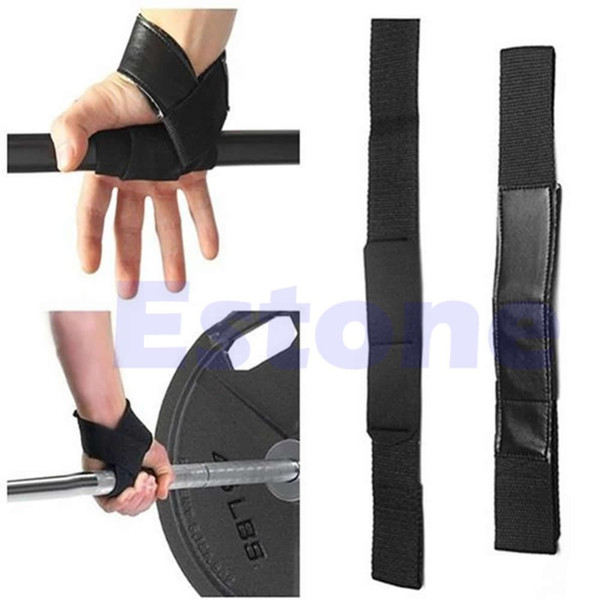 Wholesale- Free Shipping Gants d Support Noir Wrap main Bar sangles pour Weight Lifting Training Gym