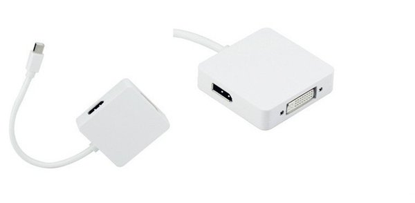 50pcs 3 in 1 mini displayport mini dp to HDMI DVI Display port DP adapter converter cable for pc macbook