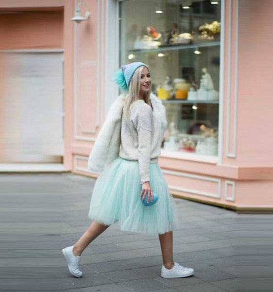Autumn Winter Fashion Street Style Skirts Women Personalized Mint Green Tutu Skirt A Line Knee Length Tulle Skirt