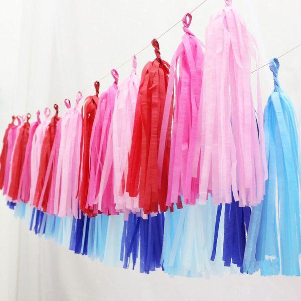top popular Tissue Paper Tassel DIY Party Garland for Baby Shower Decoration Bridal Shower Wedding Bunting Pom Pom ZA4137 2020
