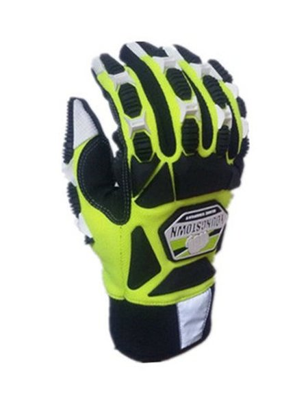 top popular Impact resistant Cut Resistant Anti-Vibration High Visibility Designed for total hand protection glove (Large,Green) 2019