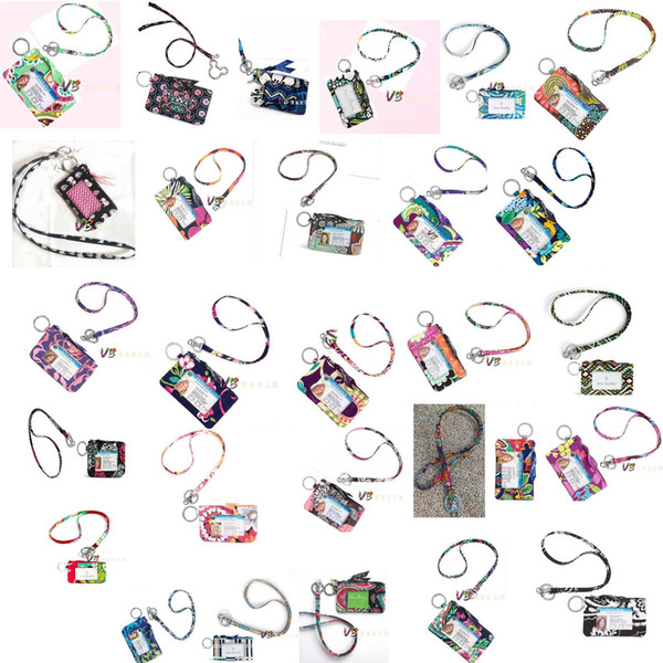 top popular Cotton Zip ID Case with Lanyard ID Card Holder Credit Card Bus Card Case 2019