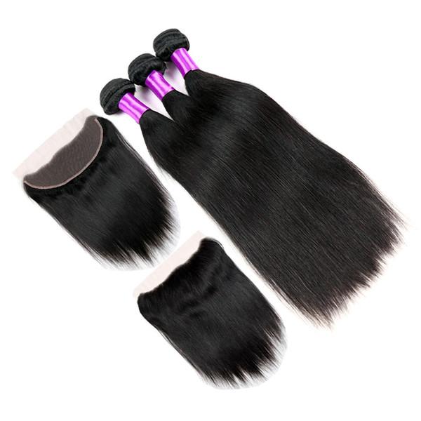 Malaysian Silk Straight Virgin Human Hair With Frontal Closure Cheap 3 Bundles With 360 Lace Band Frontal Closure 4Pcs Lot
