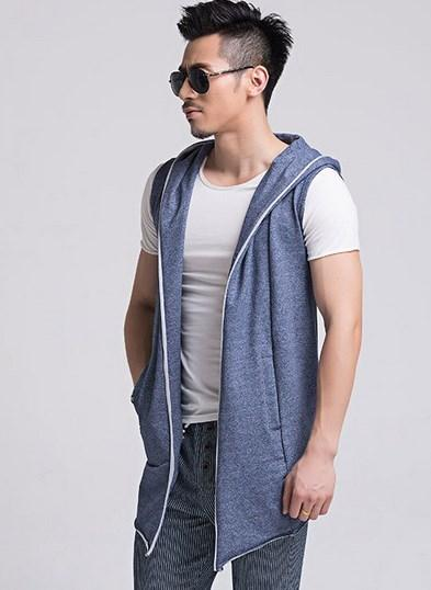 En gros-Coréen Hommes Sans Manches Cardigan Outwear Printemps Slim À Capuche Gilet Hommes Noir Gris Bleu Sans Manches Veste À Capuche Gilet Chaleco Hombre