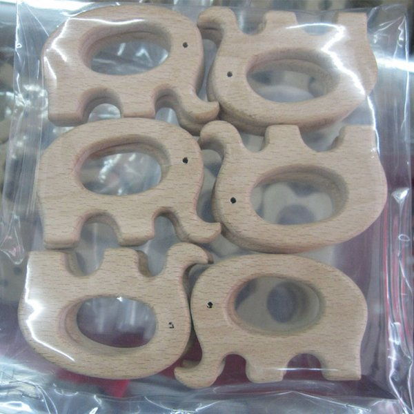 Organic Unfinished Beech Wooden Teether Elephant Free Teether Clip Ring Pacifier Clip Elephant Charm Nursing Necklace DIY Fit