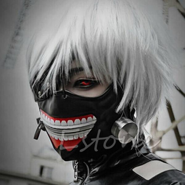 Wholesale-1PC Cool Cosplay Tokyo Ghoul Kaneki Ken Halloween Party Adjustable Zipper Prop Mask