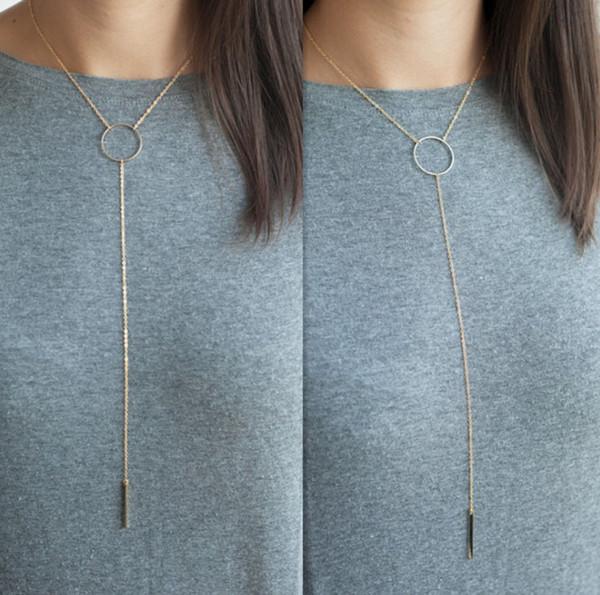 Collier de franges de bague en métal Collier d'accessoires du vêtement Chaîne à suspendre de la mode Accessoires du vêtement Frais de port gratuits