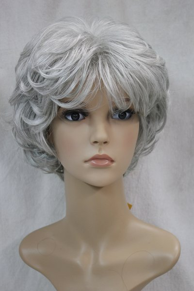 2017 new fashion health fashion light gray/grey mix curly women's short wavy wig for every day wig
