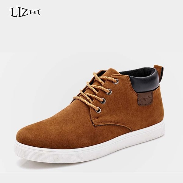 Wholesale- New 2016 Spring&Autumn Shoes For Men Casual Shoe Canvas Fashion High Top Mens Footwear High Quality Flat Men's Shoes D0918
