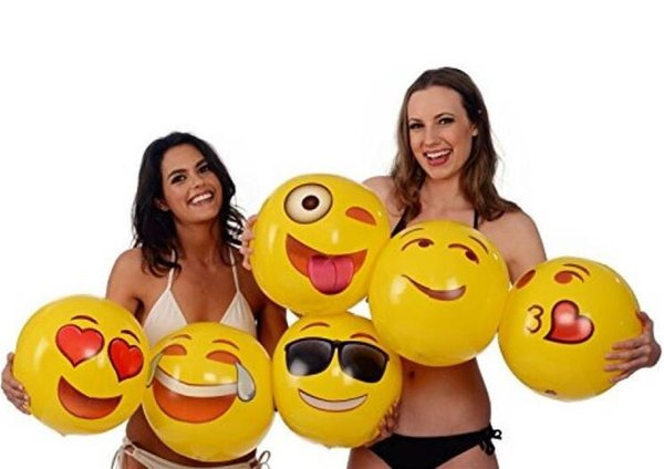Newest 12inches Emoji PVC Inflatable Beach Balls Inflatable Ball Pool Outdoor Play Beach Toys Sand Play Water Fun Ball Toy DHL Free