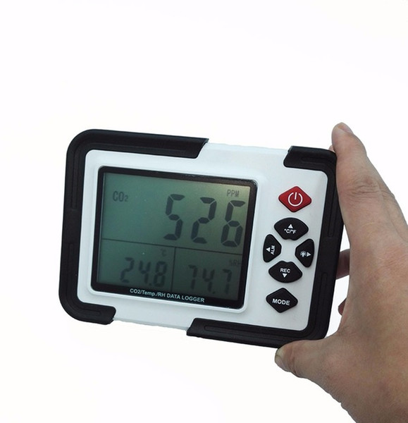 best selling Wholesale- HT-2000 Digital CO2 Monitor CO2 Meter Gas Analyzer detector 9999ppm CO2 Analyzers With Temperature and Humidity Test