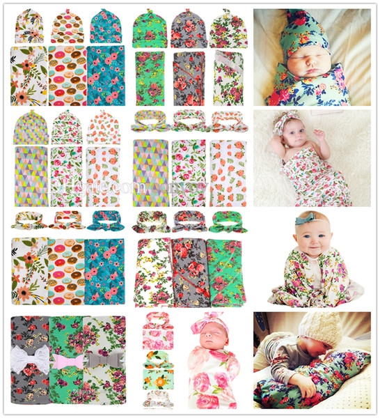 INS Baby Swaddle Blanket Knot Hat Set Newborn Infant Shower Wrap Cloth Kids flower print wrapped Swaddling Robes Headbands 24Styles BHBZ01