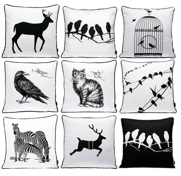 Animals Bird Deer Stag Zebra Cat Cushion Covers Modern Black And White Birds Cage Sketch Cushion Cover Decorative Sofa Throw Pillow Case
