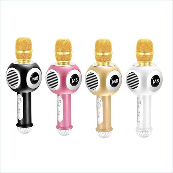 2018 Fashion M8 USB Microphone KTV Karaoke Handheld Mic Speaker Wireless Microphone M8 for IOS Android Smartphone and TV