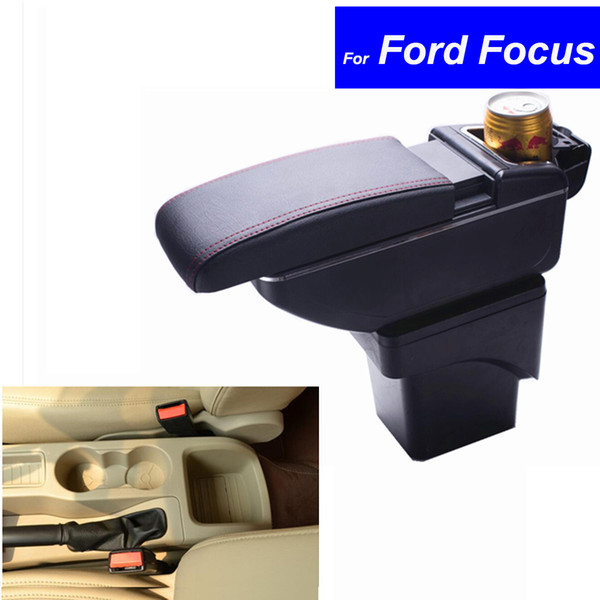 Leather Car Center Console Armrests Storage Box for Ford Focus 2007 2008 2009 2010 2011 2012 2013 2014 Auto Parts Free Shipping