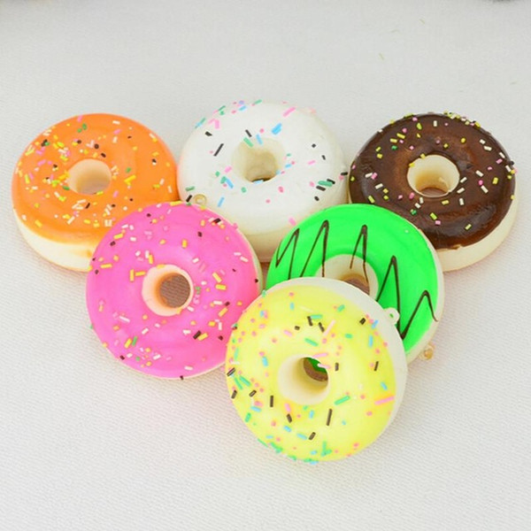 New style 5CM Squishy Mini Donut Key Chain Chocolate Noodles Sweet Roll Phone Charms Straps 1PCS