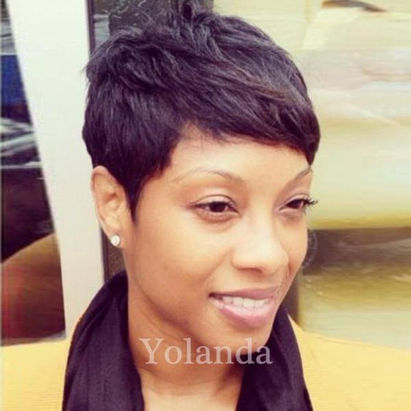Rihanna Human Hair Wigs Natural Black Human Brazilian Hair Short hair Full Wigs For Black Women African American Celebrity Wig