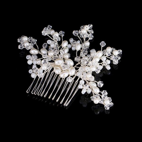 Bridal Tiara Hair Combs 2017 Nuova perla di cristallo Accessori per capelli da sposa Posticci per le donne Gioielli per capelli fatti a mano Headwear