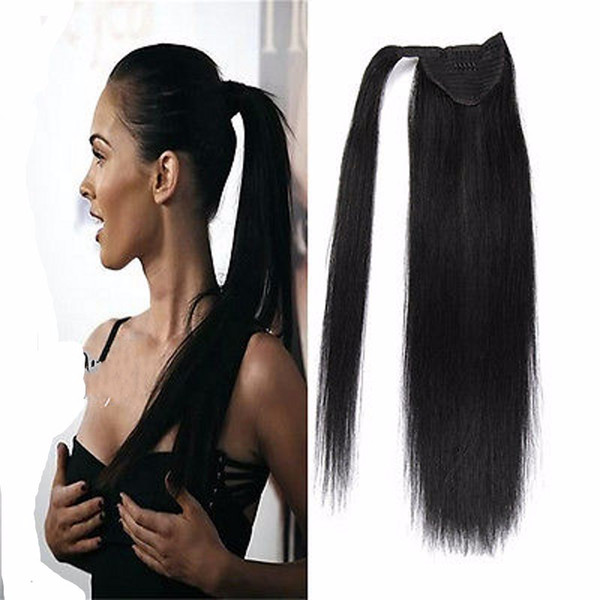 Human Hair Ponytail European Straight Hair Extensions 120gram Wrap Around Clip In Pony Tail Remy Hair 12-22 Inches