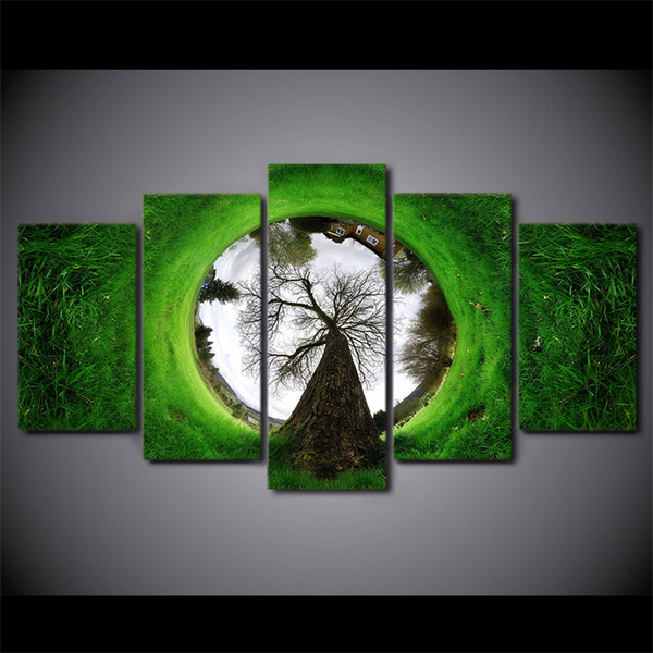 Creative Tree Grass House Inverted Art Painting On Canvas 5 Panel home decoration Wall Modular Pictures For Dinning room Print poster
