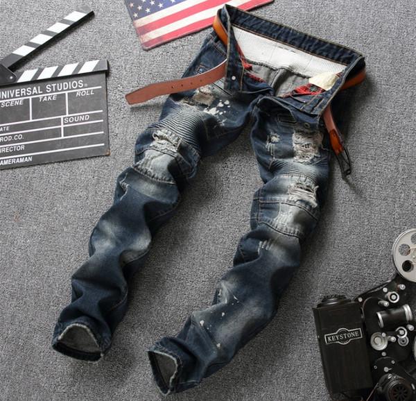 marca europea de la moda estadounidense Estilo de los pantalones vaqueros para hombre de lujo de los hombres pantalón de mezclilla delgados rectos del agujero de los tejanos cremallera pantalones para hombres