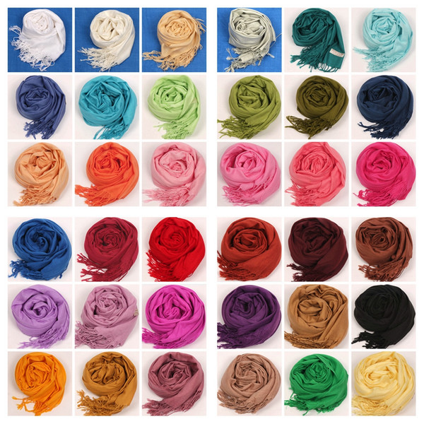 top popular 2017 41Colors Hot Pashmina Cashmere Solid Shawl Wrap Women's Girls Ladies Scarf Soft Fringes Solid Scarf 2019