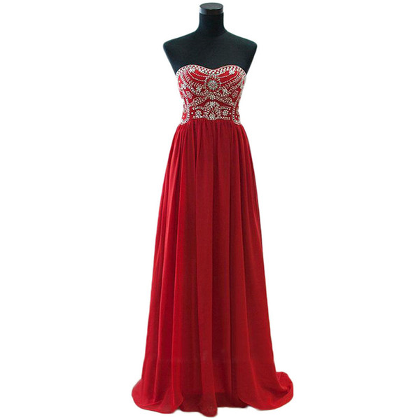 Long Red Prom Dresses Strapless Crystals Beading Chiffon Floor Length Chiffon 2020 Real Image Girls Party Gowns Custom Size