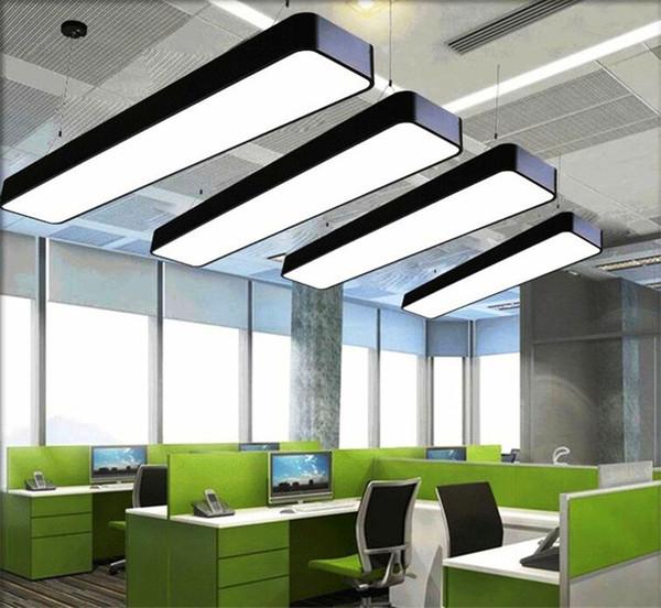 Luci Led Ufficio.Acquista Plafoniera In Alluminio A Sospensione Da Ufficio Bar Luci 4ft Rettangolare A Sospensione A Sospensione Moderna A Led Lampadario Lampada
