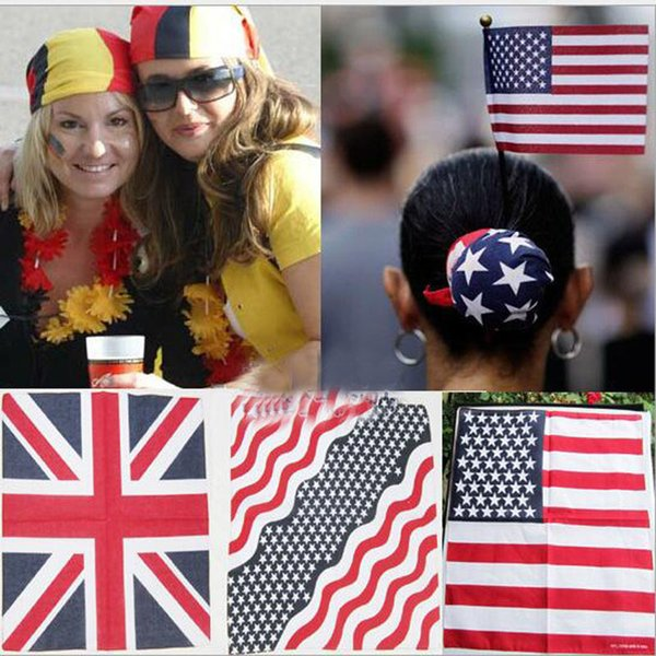 top popular 100%Cotton 55*55cm Hair Bandana Beanie Tie Down Hat Head Wrap USA UK Canada Mexico Flag Scarf 2021