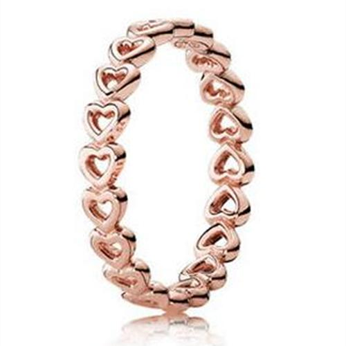 2017 Spring European Pandora Style Rose Gold Plated Linked Love Ring Fashion Jewelry Women Charms Ring