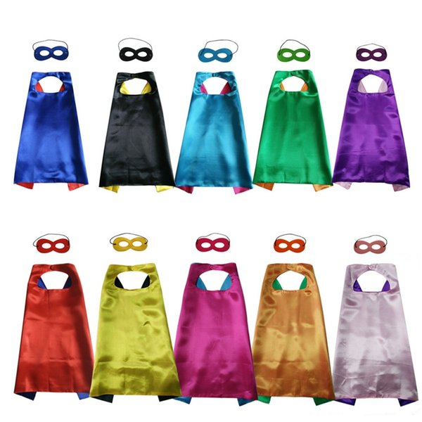 top popular Pure Color Double Side Cape and Mask with 2 different colors 70*70cm Capes for Kids Christmas Halloween Cosplay Prop Costumes 2021