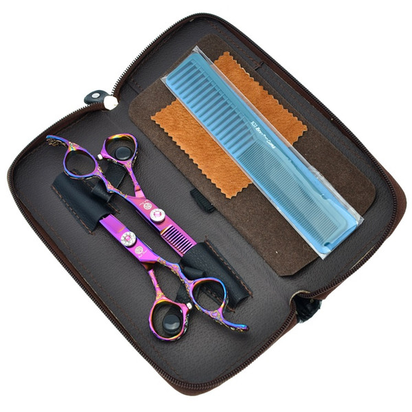 6.0Inch 2017 Purple Dragon New Arrival Hair Scissors Kit Cutting & Thinning Hair Shears Hairdressing Scissors Set Free Shipping, LZS0287
