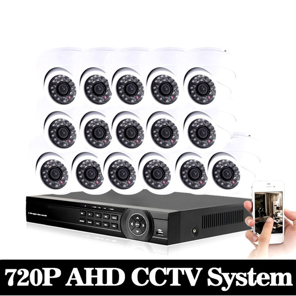 AHD CCTV System 16CH DVR Kit 16 Channel 1080P DVR With IR Day Night 2000TVL Security Dome CCTV Camera Video Surveillance System