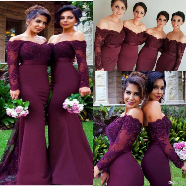best selling 2019 Burgundy Maroon Beads Mermaid Bridesmaid Dresses Off Shoulder Long Sleeve Lace Applique Cheap Custom Made Bridesmaids Wedding Dress