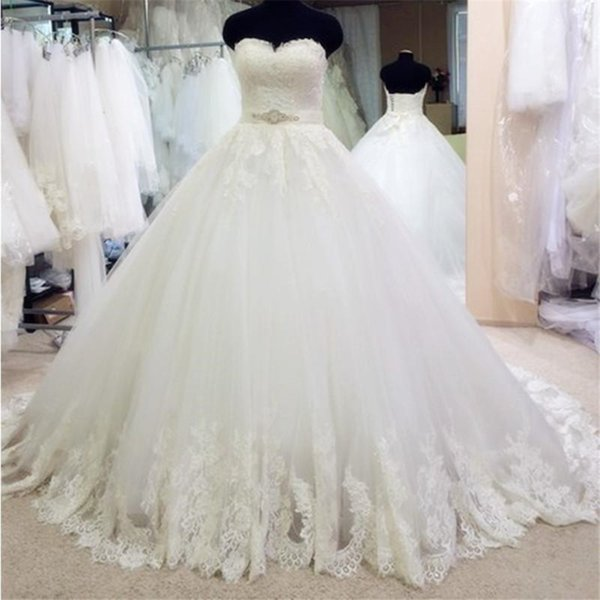 Romantic Sweetheart Crystal Beading Sashes Lace Wedding Dresses Ball Gowns Elegant Hem Lace Bridal Gowns vestido noiva