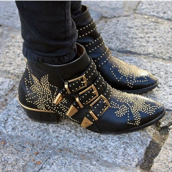 LTTL 2017 Susanna Shoes Woman Buckle Strap Rivet Studs Leather/Velvet Ankle Boots Women Chunky Heel Motorcycle Booties Oversize 34-45