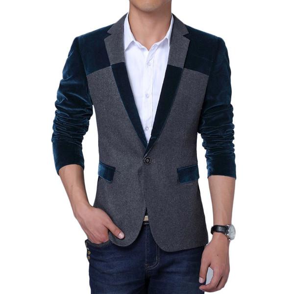 41a9ddbf427f Wholesale- Velvet Blazer Men 2017 Spring New Men Blazers Korean Fashion  Design Patchwork Mens Slim