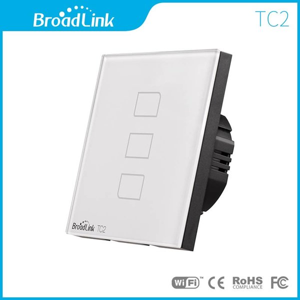 Wholesale-Broadlink TC2 EU Standard 3 Gang Wifi Switch Wireless Remote Control Switch, Smart Home Touch Light Switch For Home Automation