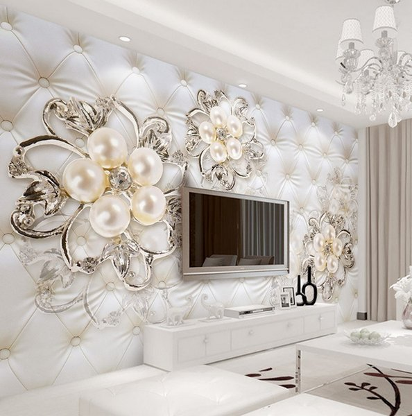 best selling Large 3d European Pearl and Rose Jewelry TV Background Wallpaper Living Room Wallpaper Full Seamless Mural