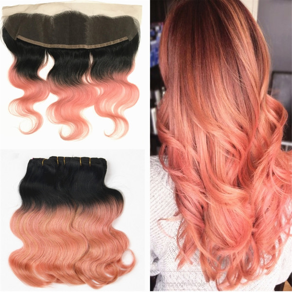 2019 Blonde 1b Rose Gold Indian Hair Weaves Bundles With Frontal Body Wave Ear To Ear Frontal With Ombre Rose Gold Hair Weaves From Smarthair