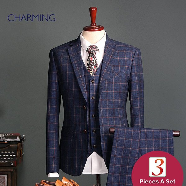 tartan suit men's 3 piece suits British style High quality fabric Groom dress formal suits for men